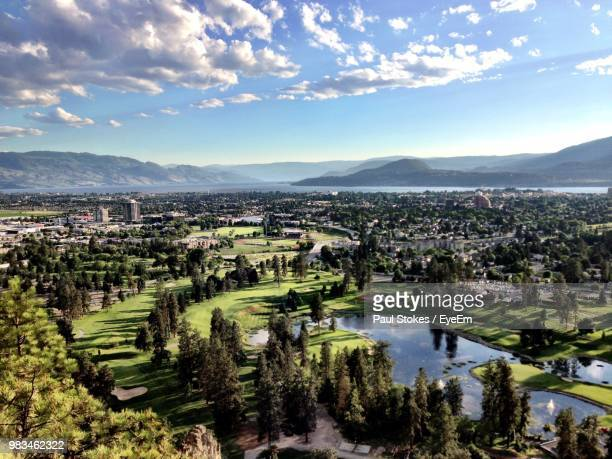 high angle view of landscape against sky - kelowna stock pictures, royalty-free photos & images