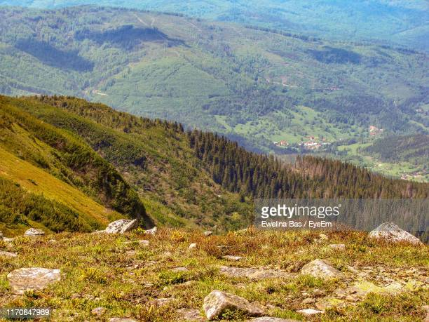 high angle view of landscape - babia góra mountain stock pictures, royalty-free photos & images