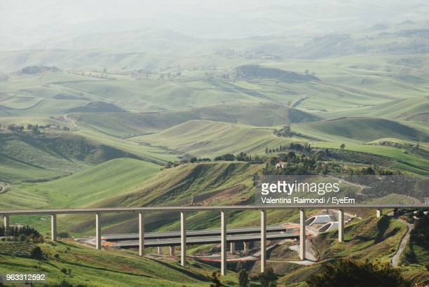 high angle view of landscape - province of caltanissetta stock photos and pictures