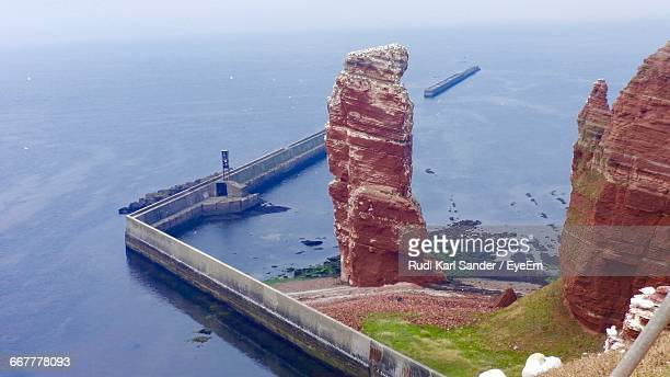 High Angle View Of Lange Anna At Heligoland