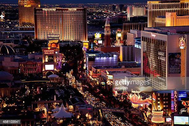 high angle view of las vegas strip at night - the mirage las vegas stock pictures, royalty-free photos & images