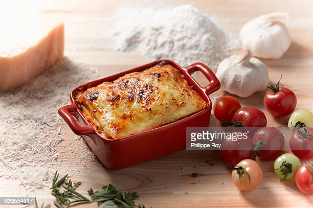 high angle view of lasagne in rectangular casserole dish - lasagna stock pictures, royalty-free photos & images
