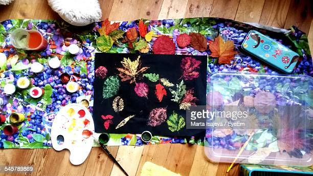 High Angle View Of Leaves Painting On Multi Colored Fabric