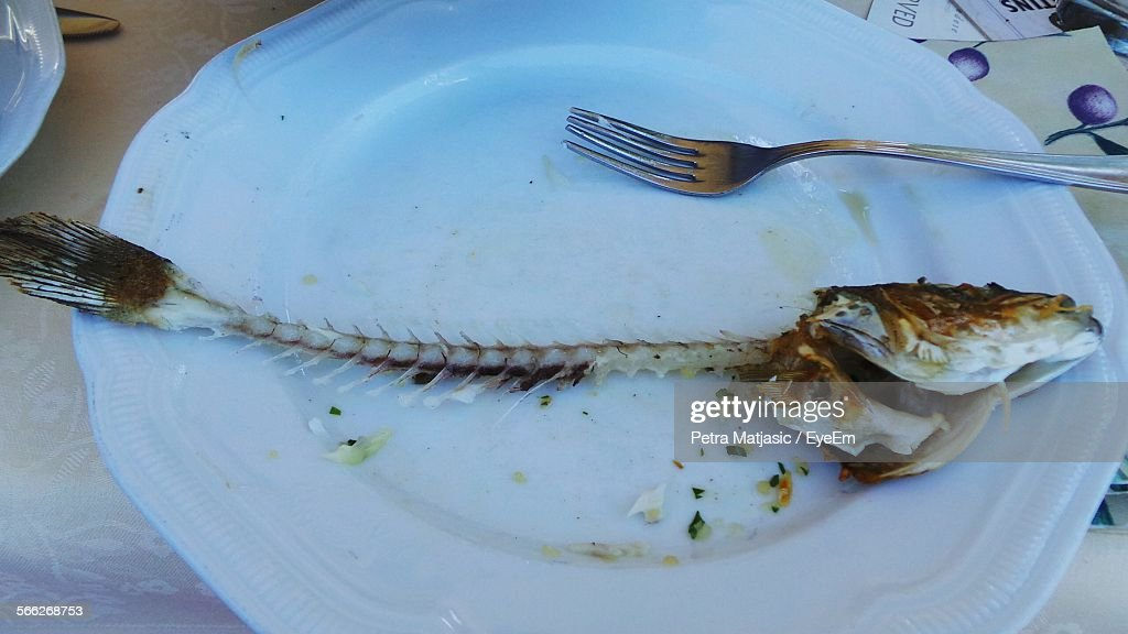 High Angle View Of Leftover Fish Bone In Plate On Table : Stock Photo