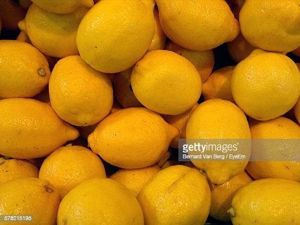 High Angle View Of Lemon For Sale At Market Stall