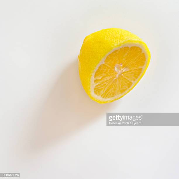 high angle view of lemon over white background - レモン ストックフォトと画像