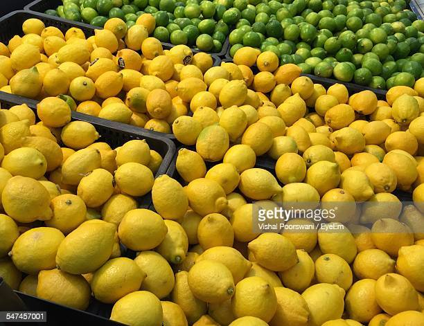 High Angle View Of Lemons For Sale In Supermarket
