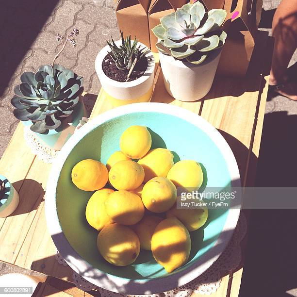 high angle view of lemons in bowl - adelaide market stock pictures, royalty-free photos & images