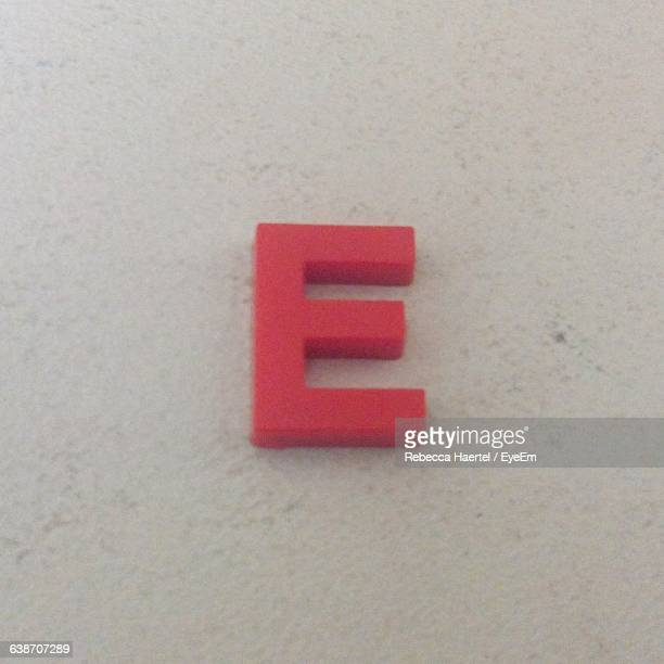 High Angle View Of Letter E On Table