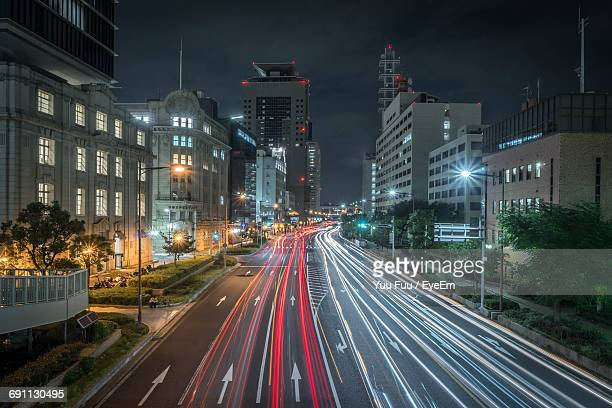 High Angle View Of Light Trails In City At Night