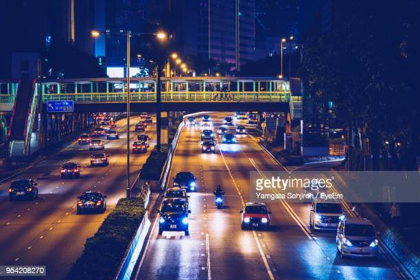 High Angle View Of Light Trails On Road At Night