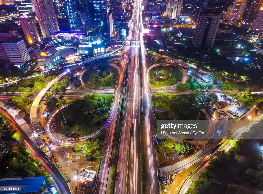 High Angle View Of Light Trails On Road In City : Stock Photo