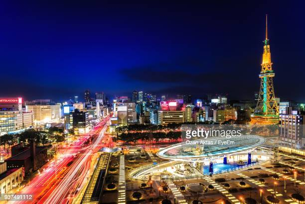 high angle view of light trails on road - nagoya stock pictures, royalty-free photos & images