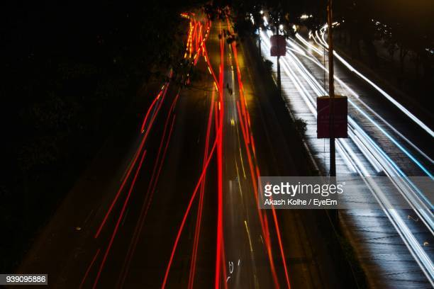 High Angle View Of Light Trails On Street At Night
