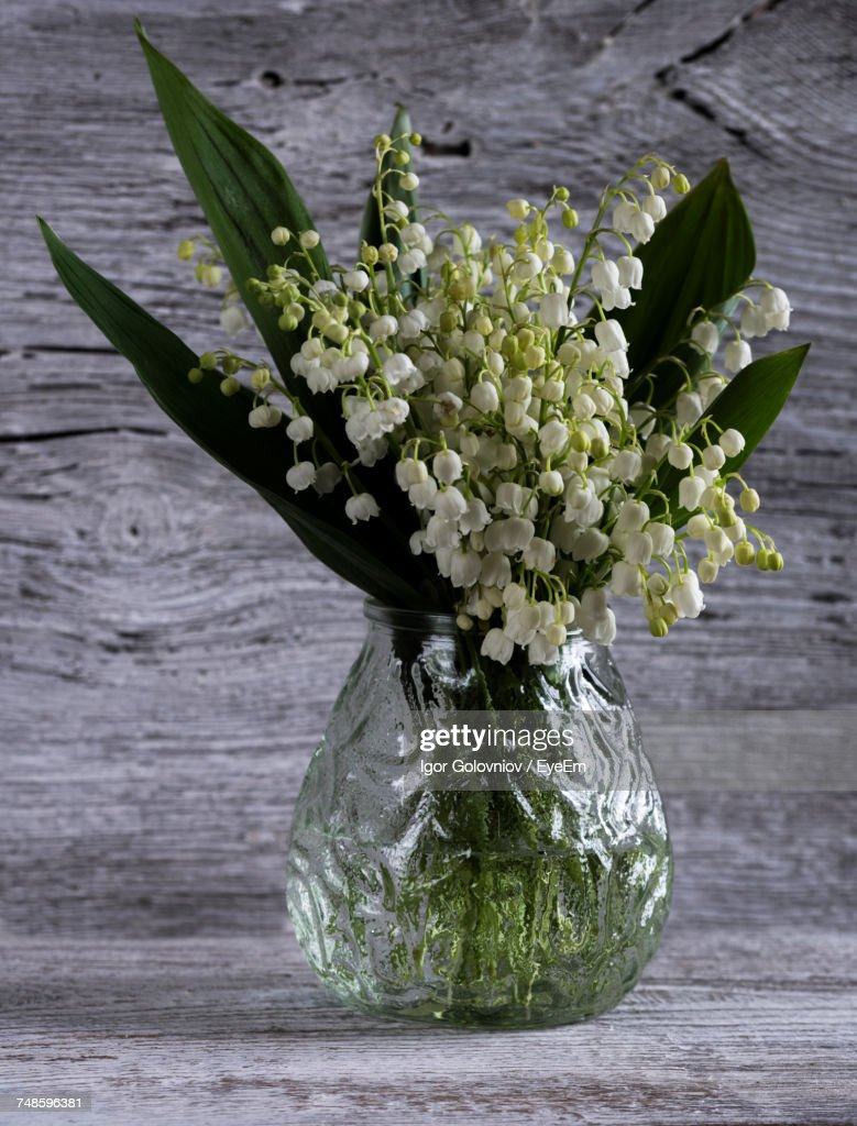 High angle view of lilyofthevalley flowers in vase on wooden table high angle view of lily of the valley flowers in vase on wooden izmirmasajfo
