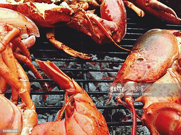 high angle view of lobsters being grilled on barbecue - aragosta foto e immagini stock