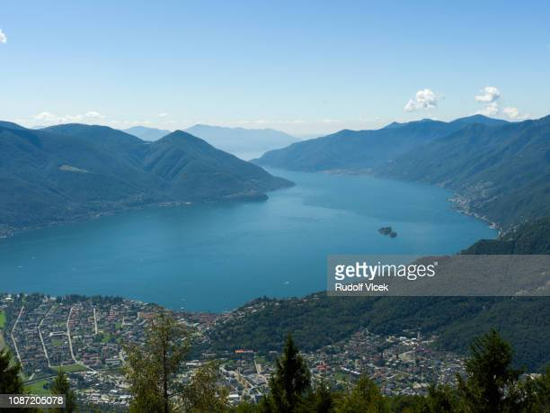 high angle view of locarno and lake maggiore from cardada - locarno stock photos and pictures