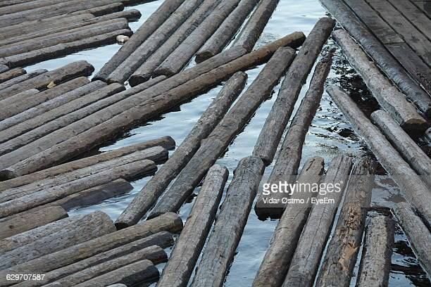 high angle view of logs floating on water - boomstam stockfoto's en -beelden