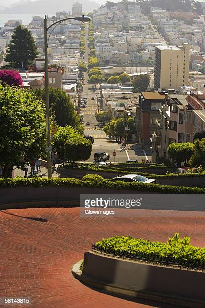 """""""high angle view of lombard street, san francisco, california, usa"""" - lombard street san francisco stock pictures, royalty-free photos & images"""