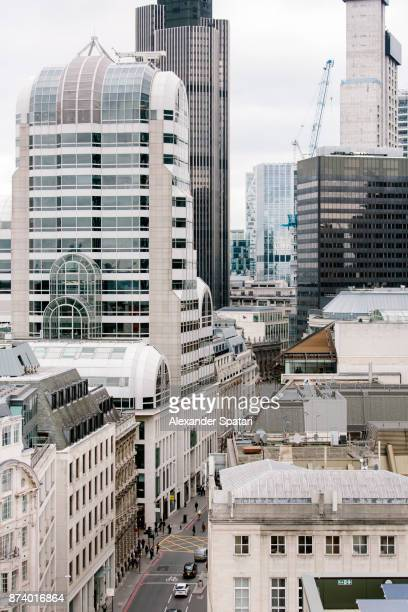 High angle view of London financial district, Greater London, UK