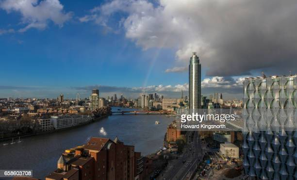 high angle view of london looking east at night - us embassy stock pictures, royalty-free photos & images