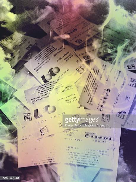 high angle view of lottery tickets - lotterytickets stock pictures, royalty-free photos & images