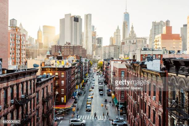 high angle view of lower east side manhattan downtown, new york city, usa - new york city stock-fotos und bilder