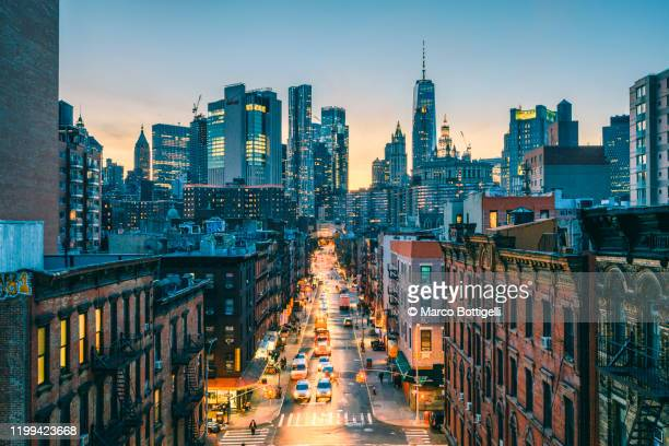 high angle view of lower manhattan, new york city - urban sprawl stock pictures, royalty-free photos & images