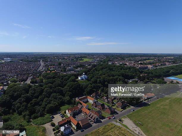 High Angle View Of Lowestoft Cityscape Against Blue Sky