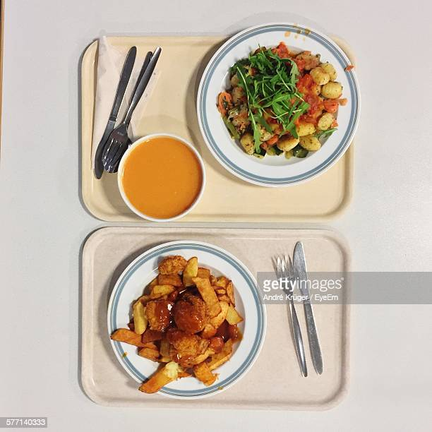 High Angle View Of Lunch On Tray
