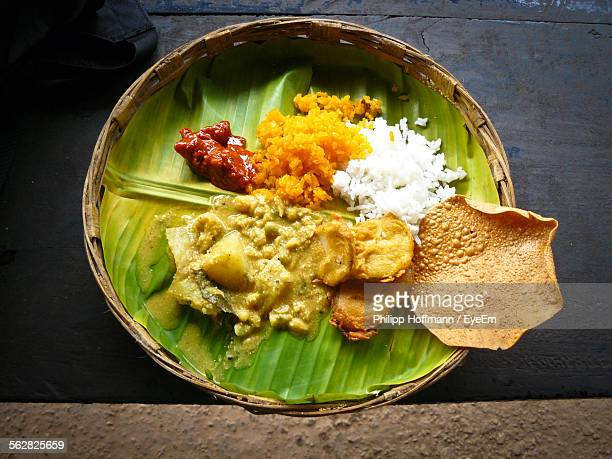 High Angle View Of Lunch Served On Banana Leaf At Home