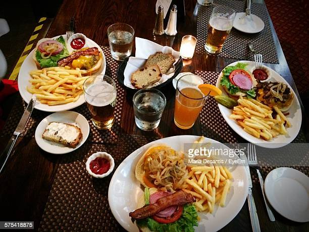 High Angle View Of Lunch Served On Table In Restaurant