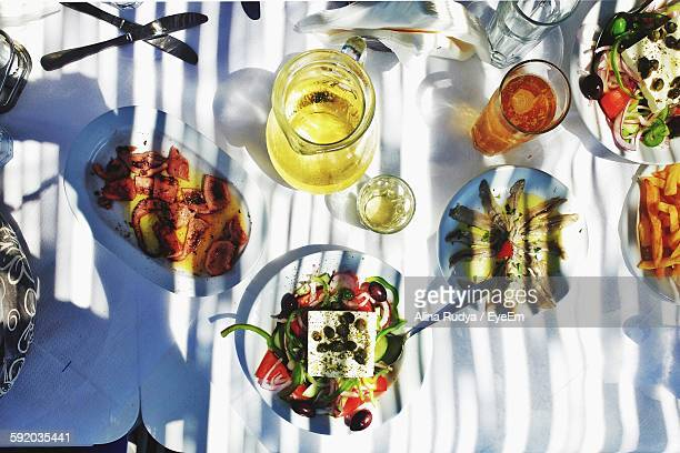 high angle view of lunch served on table - alina stock pictures, royalty-free photos & images