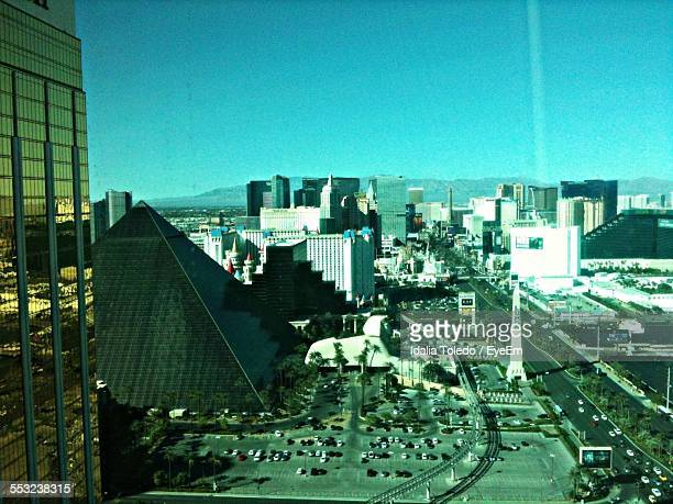 High Angle View Of Luxor Hotel And Casino In City