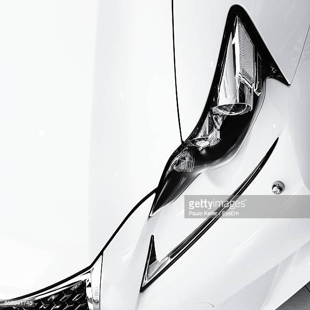 High Angle View Of Luxury Car Headlight