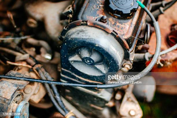 high angle view of machinery in container - weathered stock pictures, royalty-free photos & images