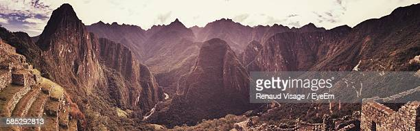 High Angle View Of Machu Picchu Against Mountains