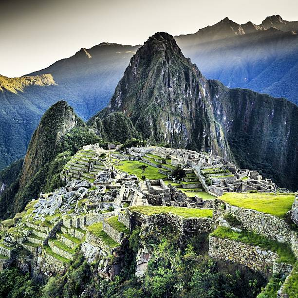 High Angle View Of Machu Picchu Against Sky Wall Art