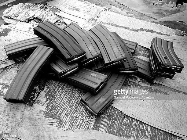 high angle view of magazines - ammunition magazine stockfoto's en -beelden