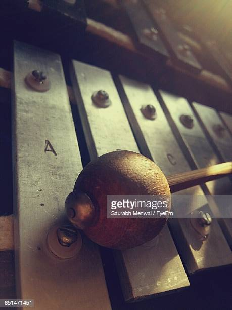 high angle view of mallet on xylophone - percussion instrument stock photos and pictures