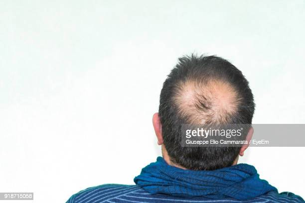 High Angle View Of Man Against White Background