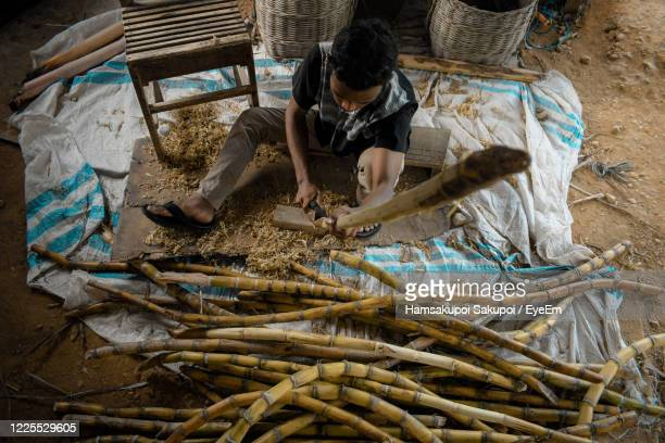 high angle view of man cutting sugarcane - hamsakupoi stock pictures, royalty-free photos & images