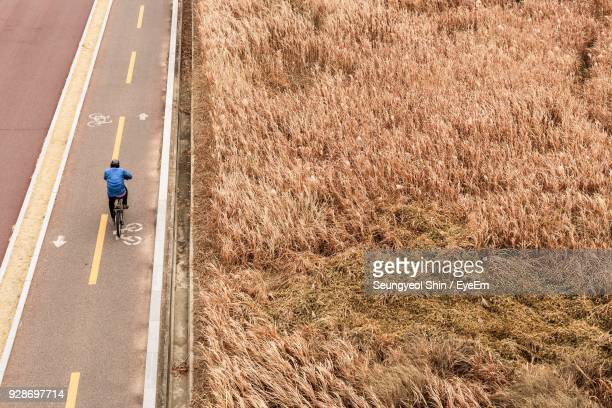 High Angle View Of Man Cycling On Road By Grassy Field