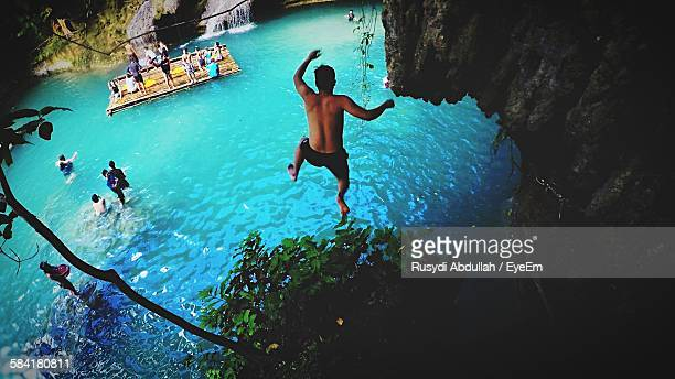 High Angle View Of Man Diving In River