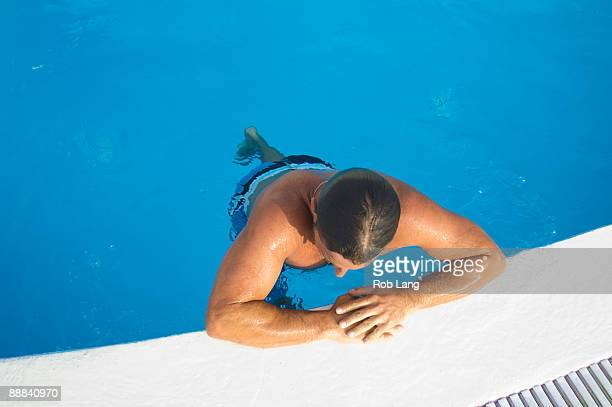 High angle view of man in swimming pool