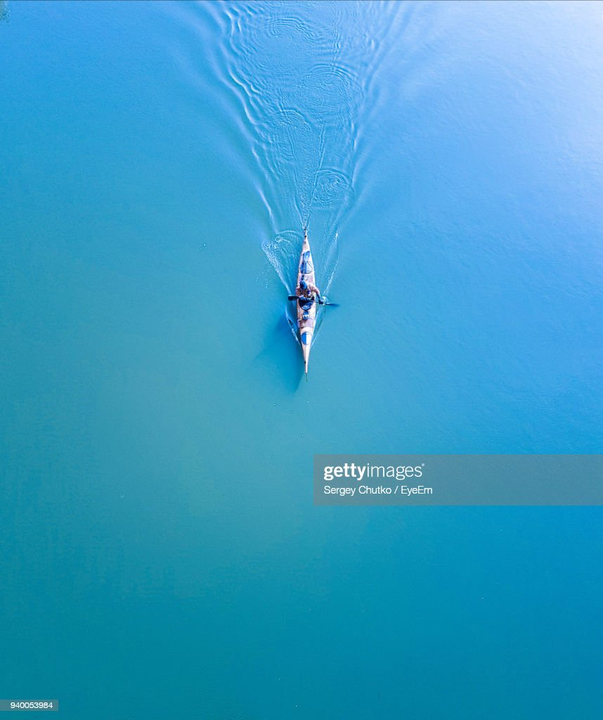 High Angle View Of Man Kayaking On Lake : Stock Photo