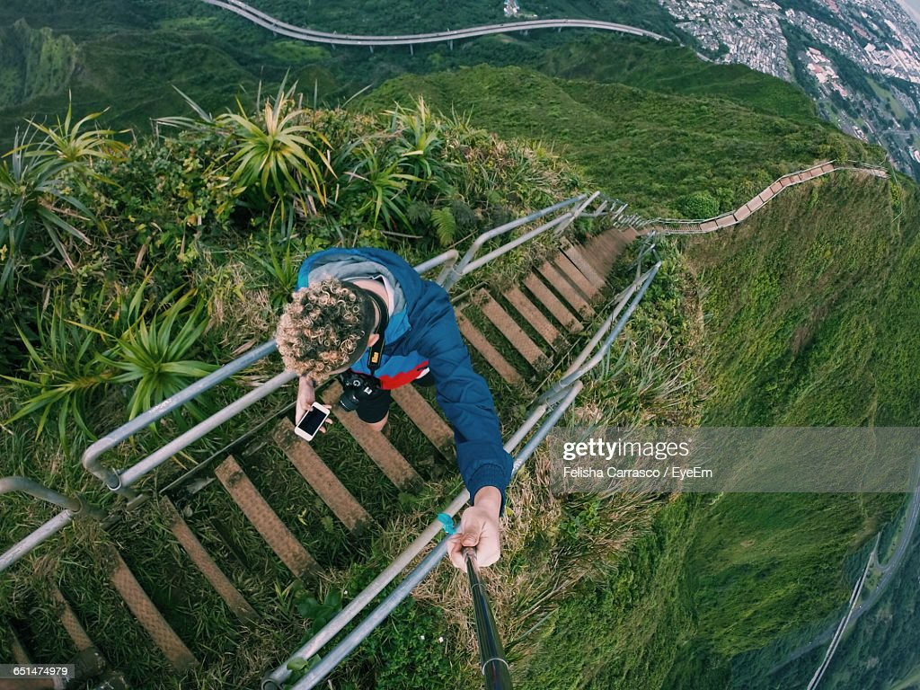High Angle View Of Man On Haiku Stairs At Oahu : Stock Photo