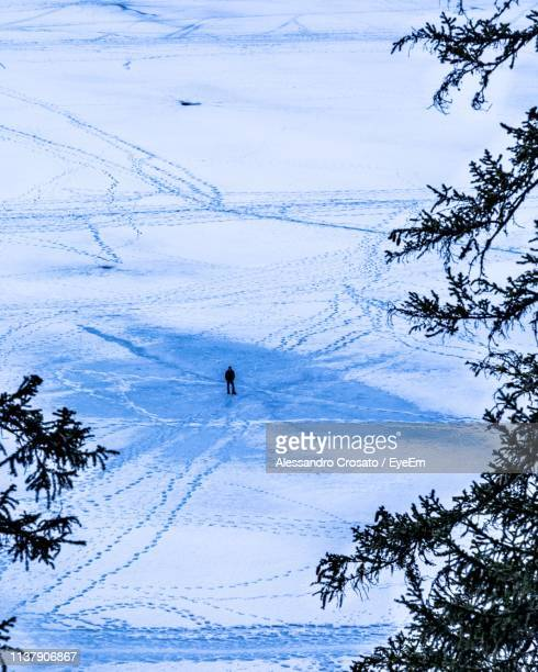 High Angle View Of Man On Snow Covered Field