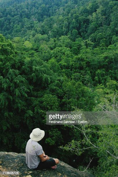 High Angle View Of Man Sitting On Cliff Against Trees