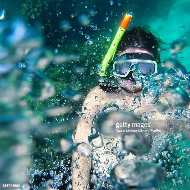 High Angle View Of Man Snorkeling Underwater At Phi Phi Islands